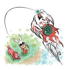 Amaterasu and Canine Warriors and Kid and Issun, Fishing! Okami!