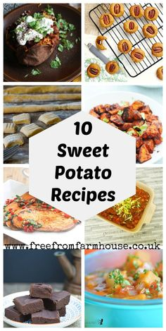 Sweet potato recipes from sweet potto soup and stews to cookies and sweet potato brownies Potato Recipe For Kids, Sweet Potato Recipes, Egg Free Recipes, Soup Recipes, Family Recipes, Pumpkin Recipes, Vegetarian Dinners, Vegetarian Recipes, Vegan Meals