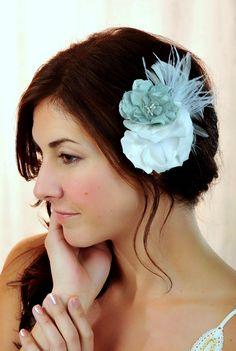 Winter Wedding Bridal Fascinator Flower Soft White by MaddieLus