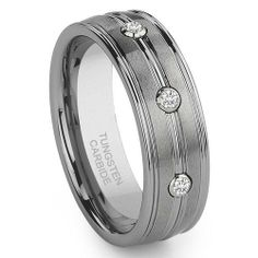 Tungsten Carbide 3 Diamond Wedding Band Ring Titanium Kay. $165.00