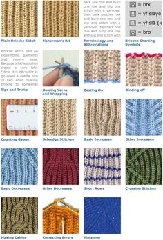 The Brioche Stitch- several good stitch patterns