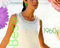 INSTANT DOWNlOAD - PdF Pattern - DRESS CROCHET Pattern Retro 1960s Mod Dress Pattern Ladies Summer wear Party Dress Women Wedding Dress