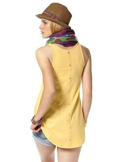 AJC Sleeveless Button Back Top in pastel yellow