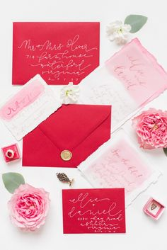 Valentine's Day wedding invitation suite from styled shoot in Virginia http://www.trendybride.net/valentines-day-wedding-inspiration/