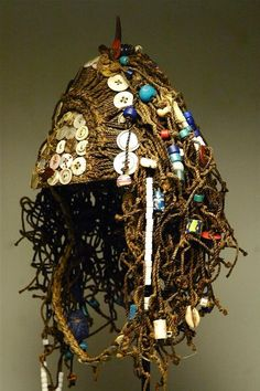 Africa   A ceremonial hat from the Lega people of DR Congo   Fiber, glass beads, buttons and shells