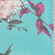 Sheer turquoise green background with a walnut brown, hot pink, beige, orange, ivory, pale yellowandorchid pink floral print. Thislightweight silk fabric has a great drape!Compare to $19.00/yd