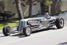 Jay Leno's insane hot rod, the Blastolene Special. 28.4 liter V12 Chrysler-built tank engine, 1600 hp, 3000 ft/lb. torque.