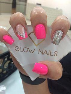 Nail Art Designs Videos, Gel Nail Designs, Glow Nails, Diy Nails, Pink Nail Art, Party Nails, Xmas Nails, Long Acrylic Nails, Stylish Nails