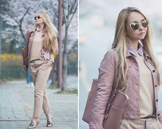 Get this look: http://lb.nu/look/8152627  More looks by Olga Choi: http://lb.nu/choiolga  Items in this look:  Zero Uv Golden Sunglasses, Choies Leather Jacket, Michael Kors Dusty Pink Bag   #casual #elegant #romantic