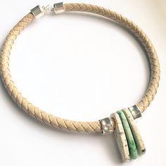 Faux leather & Ceramic necklace | Lark & Lily Designs