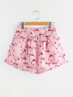 Flamingo Print Zipper Side Shorts