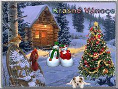 vánoční přání - přáníčka 059 Christmas Images, Merry Christmas, Christmas Ornaments, Snow Cabin, Cute Images, Christmas Greeting Cards, Snowman, Diy And Crafts, Animation