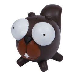 Pet Buddies Googlies Sammy Squirrel has big eyes that are hard to resist and are fun dog toys made from durable natural rubber in vibrant colors.    Squeak, toss, and bounce these big eyed characters!    Helps promotes healthy teeth and gums.