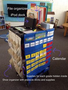(pic only) Teacher's traveling cart Elementary Spanish, Spanish Classroom, Elementary Music, Music Classroom, School Classroom, Classroom Ideas, French Teacher, Teaching French, Teaching Spanish