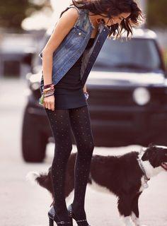 denim vest + little black dress + calzedonia punctured tights