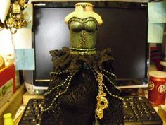 """""""The Dress Form"""" Altered Art Bottle Up-Cycled Recycled. OOAK Polymer clay"""