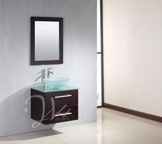 example with floating vanity and glass bowl sink