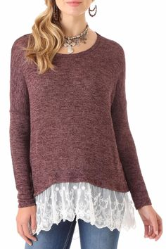 Sweater tunic with lace hem. Tunic by Wrangler. Clothing - Tops Roanoke Virginia