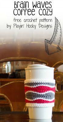 Playin' Hooky Designs: Free Brain Waves Coffee Cozy Pattern #crochet
