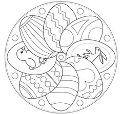 Easter Mandala Coloring Pages Spring Mandala Coloring Pages Sketch Coloring Page Easter Egg Coloring Pages, Mandala Coloring Pages, Coloring Book Pages, Printable Coloring Pages, Coloring Pages For Kids, Easter Art, Easter Crafts, Mandalas For Kids, Easter Projects