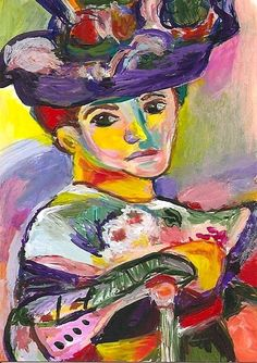 ACEO Woman with a Hat in the Style of Henri Matisse Fauvism Mini Penny StewArt #Fauvism #painting www.pennyleestewart.com