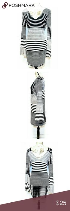"""Arden B Bell Sleeve Stripe Dress Approximate measurements laying flat: length 34"""", bust 18"""", waist 16"""". Color Gray/Black stripes. Excellent pre-owned condition. Low V in front and back. Super cute! Arden B Dresses Mini"""