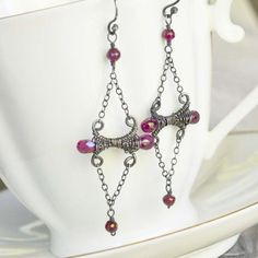 Artisan Rhodolite Garnet Chandelier Earrings in by NeroliHandmade