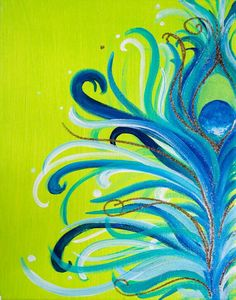 Glitter Peacock Canvas Art