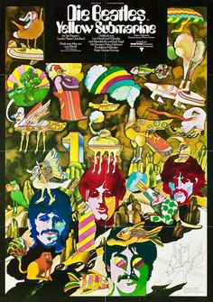"""German film poster for The Beatles' 'Yellow Submarine"""" by Heinz Edelmann, 1968."""