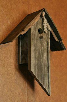 Weathered Acorn Feather Birdhouse by BirdCreekMercantile on Etsy Bird Houses For Sale, Bird Houses Diy, Bird House Plans, Bird House Kits, Bird House Feeder, Bird Feeders, Modern Birdhouses, Wooden Pattern, Birdhouse Designs