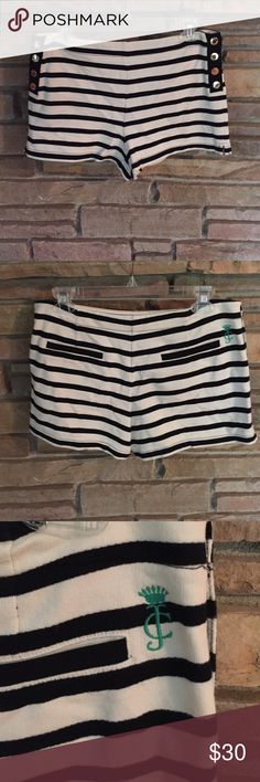 Juicy couture black and white striped shirts Juicy Couture black and white striped shorts - worn once Juicy Couture Shorts
