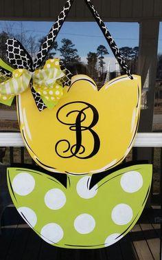Monogrammed Spring tulip door decoration , door hanger, home decor by Thepolkadotteddoor on Etsy:
