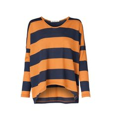 Navy and orange boxy jumper. 100% merino wool. By Viktoria + Woods.