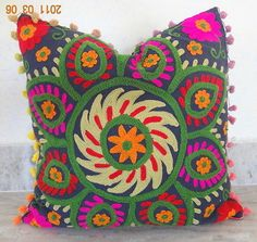 Vintage Suzani Cushion Cover Embroidered 16x16'' Indian  Pillow Case Decorative