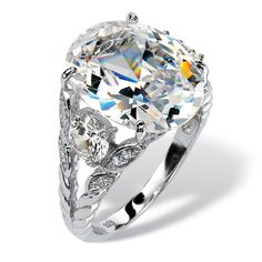 10.43 TCW Oval-Cut Cubic Zirconia Ring in Platinum over Sterling Silver on PalmBeach Jewelry