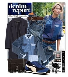 """""""Tricky Trend: Patchwork Denim"""" by shortyluv718 ❤ liked on Polyvore featuring Caslon, Zara, Bobbi Brown Cosmetics, H&M, Lee, Rebecca Minkoff, Puma, Movado, Bed