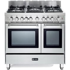 Verona 36 Inch Pro-Style Gas Range with 5 Sealed Burners, 2 Turbo-Electric Convection Ovens, Manual Clean, Infrared Broiler, Bell Timer and Storage Drawer in Stainless Steel