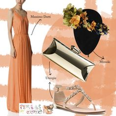 Look BBC, vestido largo, salmón, corona flores, bodas, invitadas