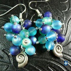 ♥ Sea Colors Luminous Iridescent Frosted Czech Glass Plated Silver Earrings  | eBay