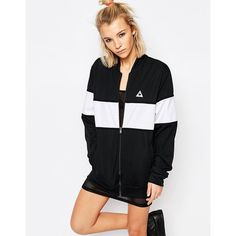 Le Coq Sportif Monochrome Block Bomber Jacket ($94) ❤ liked on Polyvore featuring outerwear, jackets, black, oversized jackets, colorblock jackets, lightweight cotton jacket, lightweight jacket and lightweight bomber jacket