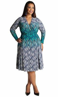 ed8ee50689e06 IGIGI Women s Plus Size Cadence Dress in Teal 12 at Amazon Women s Clothing  store