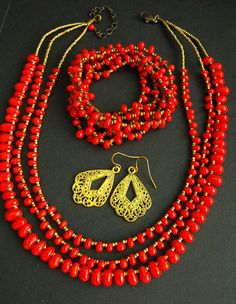 Pretty Coral Red Glass Drop Bead Necklace Bracelets Lacy Earrings *MM* #Unbranded
