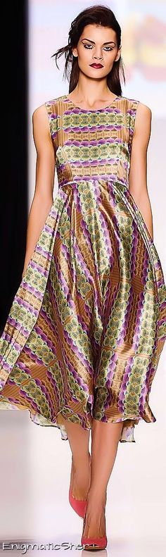 Makaron Marina ~ Spring Silk Maxi Dress Purple+Green Camel Print 2015