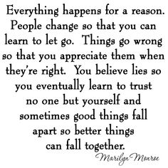 Everything Happens for a Reason Marilyn Monroe Quotes Wall Decal Stickers Quotes Wall Decal Wall Quotes, True Quotes, Motivational Quotes, Inspirational Quotes, Qoutes, True Colors Quotes, Honesty Quotes, Faith Quotes, Quotes Quotes