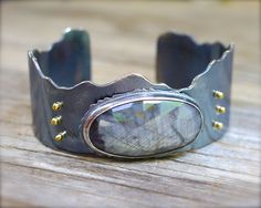 rose cut grey sapphire cuff bracelet in sterling silver with 18K gold