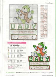 Baby's first Christmas free cross stitch pattern