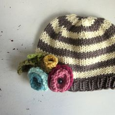 baby girl hat, vintage style baby hat, striped hat with flowers by sweet baby dolly on Etsy