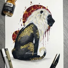 Animals - Mixture of Drawings and Paintings. Click the image, for more art from Jonna Hyttinen. Body Art Tattoos, Tattoo Drawings, Art Drawings, Tattoo Art, Petit Tattoo, Ink Art, Animal Drawings, Art Sketches, Art Inspo