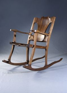 Torso Rocking Chair This chair as seen is made of black walnut and can be ordered in different wood. Feel free to contact Michael Doerr to discuss … Wood Chair Design, Wooden Rocking Chairs, Living Room Lounge, Rustic Furniture, Furniture Ideas, Porch Decorating, Cool Art, Woodworking, Construction