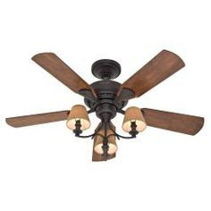 Hunter Adirondack 52 In Brittany Bronze Ceiling Fan With Light Kit At Lowes To Match Island